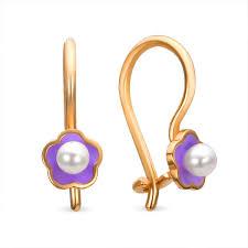 baby girl earrings buy baby girl pearl earring purple flower kids jewelry
