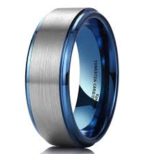 Tungsten Comfort Fit Wedding Bands King Will Duo 8mm Blue Tungsten Carbide Wedding Band Ring Brushed