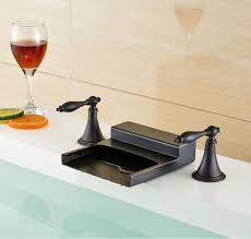 nantes rubbed bronze waterfall dual handle bathroom sink faucet