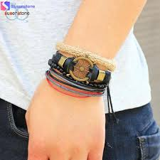 stainless steel cuff bangle bracelet images Susenstone new men 39 s braided leather stainless steel cuff bangle jpg