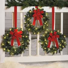 set of 3 cordless pre lit mini wreaths wreaths