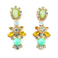 sparkly green earrings statement drops dangle earrings with mint green accents