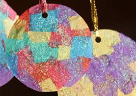 craft for tissue paper mosaic ornaments paper