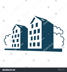 vector illustration group apartment houses simple stock vector