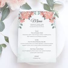 diy wedding menu cards templates diy wedding menu template together with bridal shower