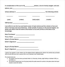 Auto Dealer Bill Of Sale Template by Sle Used Car Bill Of Sale 8 Documents In Pdf
