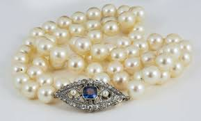 sapphire pearl necklace images 8 5mm cultured pearl necklace with sapphire diamond clasp at 1stdibs jpg