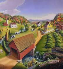 red covered bridge landscape country farm landscape shower curtain