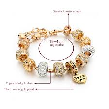 diy gold bracelet images Melihe heart beads bracelets bangles gold 2017 crystal charm jpg