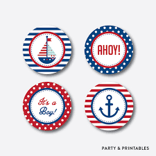 Nautical Themed Giveaways - instant download nautical cupcake toppers nautical party circles