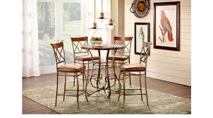 pub dining room sets hartsburg metal 5 pc pub dining set with wood top round casual