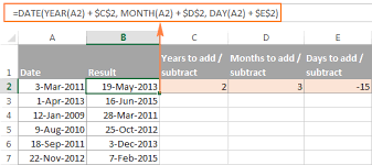 subtract dates in excel u0026 add days weeks months or years to date
