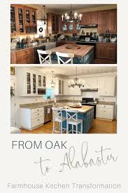 which sherwin williams paint is best for kitchen cabinets from oak to alabaster kitchen cabinet facelift painted