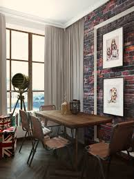 open plan small apartment design exposed brick wall and classical