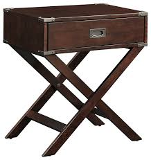 alastair wood campaign accent table nightstand transitional