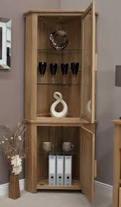 Oak Glazed Display Cabinet Eton Solid Oak Furniture Corner Display Cabinet Unit With Light