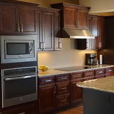 33 inch oven and microwave cabinet in leo saddle with 2 soft close