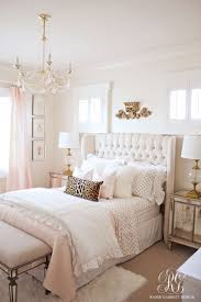 best 20 gold bedroom decor ideas on pinterest gold grey bedroom pink and gold bedroom featuring tufted wingback headboard by randi garrett design