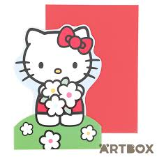 buy sanrio hello kitty flowers die cut stand up greeting card at