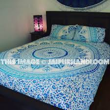 blue u0026 white ombre medallion circle duvet cover set with 2 pillow