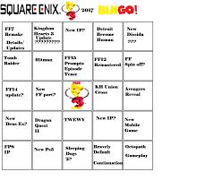 my e3 bingo cards by syntheticshark on deviantart