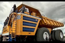 belaz 75710 dumper truck powered by siemens driving gear lays a