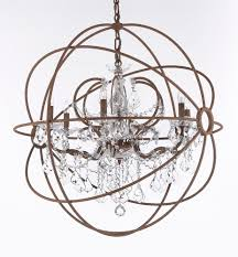 Orb Chandeliers Lighting Charming Antique Copper Iron Orb Chandelier With Clear