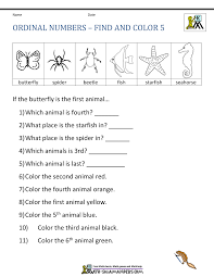 ordinal number worksheets