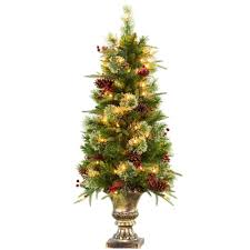 4 ft feel real rustic berry potted artificial tree with