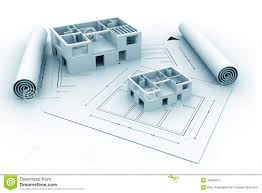 3d architecture house blue print plan stock illustration image