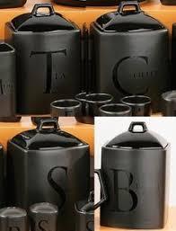black vintage ceramic tea coffee sugar jars kitchen storage