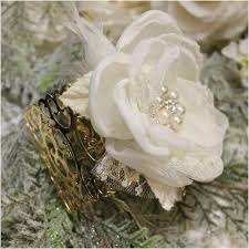 wedding wrist corsage chic wrist corsage wedding cuff bracelet ivory gold