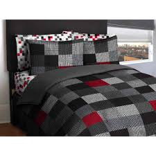 Mainstay Comforter Sets Reversible Red And White Gray Striped King Comforter Set With Red