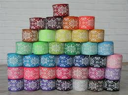 damask ribbon 5 yards 7 8 dottie damask print grosgrain ribbon