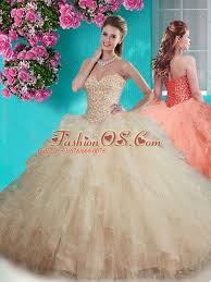 beaded and ruffled big puffy quinceanera dress in champagne