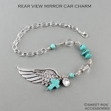 personalized rear view mirror charms angel wing rear view mirror cross turquoise boho chic rear view