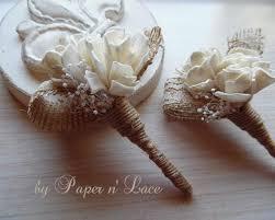 burlap boutonniere burlap sola boutonniere groom groomsmen wedding boutonniere