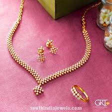 simple diamond set simple diamond necklace set from grt jewellers south india jewels