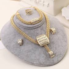 gold crystal bridal necklace images Dubai gold color jewelry sets nigerian wedding african beads jpg