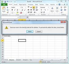 delete worksheet in excel 2010