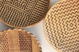 vintage woven rattan bamboo basket trays boho wall decor by