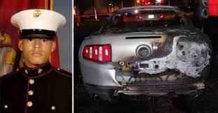 mustang marine marine s mustang set ablaze then cops see sticker explaining why