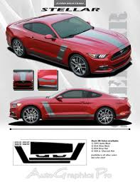 Black Mustang Stripes 2015 2017 Ford Mustang Stellar Racing Stripes Decals 3m Vinyl