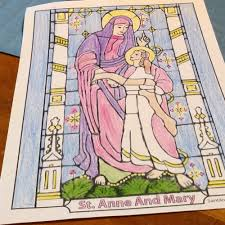 saint anne and mary coloring page