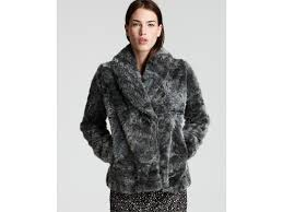french connection faux fur jacket in gray lyst