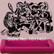 online buy wholesale large monster high wall decals from china large size monster high sleep over decal wall stickers 60cm x 85cm free shipping