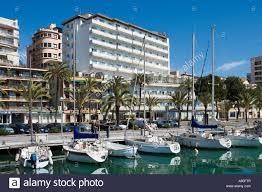 view from the marina towards the hotel costa azul palma mallorca