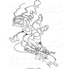 vector of a cartoon snowboarding bug coloring page outline by