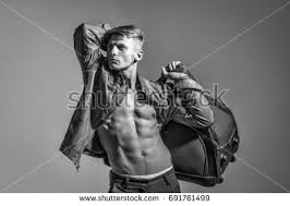 haircut for long torso young man sexy muscular bodybuilder macho stock photo 723926719