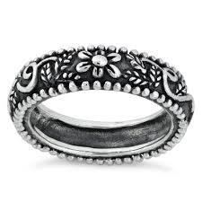 silver ornaments band ring